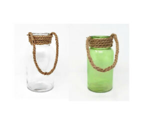 Glass-Martha-Jar-with-Rope-8x16cm-Flower-Vase-Candle-Holder-Clear-or-Green