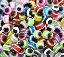 500 Mixed Multicolor Evil Eye Stripe Resin Beads 6mm
