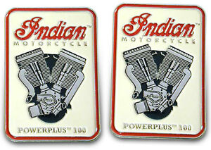 Set-of-2-Indian-Motorcycle-039-PowerPlus-100-039-Engine-Collectible-Lapel-Pins-NOS