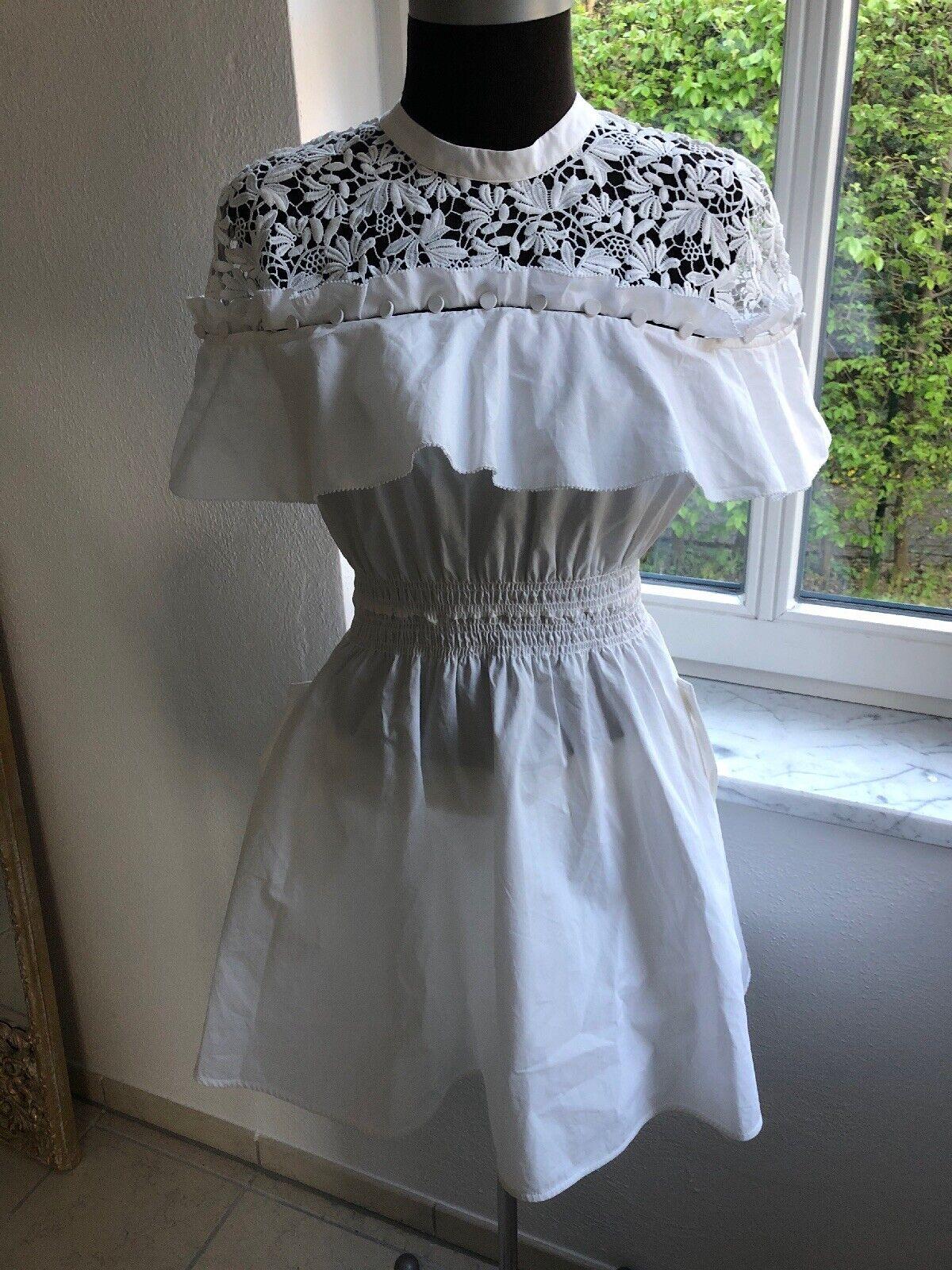 fa48b5a825bd68 100% OriginalSelf-portraitKleid mini Popelin, 1 X Getragen dressUK12Weiß  nplegr1026-neue Kleidung