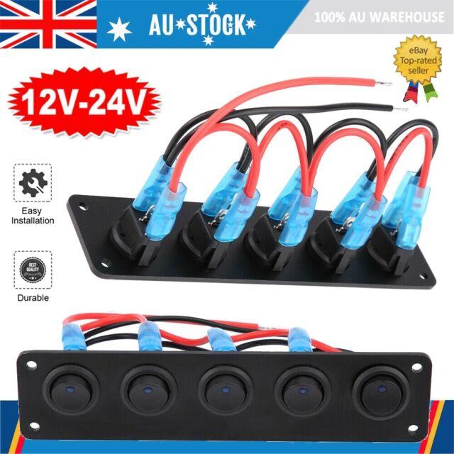 5 Gang Rocker Switch Panel Circuit Breaker For 12V-24V RV Car Marine Boat