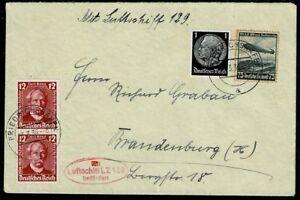 Deutsches Reich Lettre transportés avec ZEPPELIN DIRIGEABLE LZ 129 avec cachet à côté-afficher le titre d`origine yxcGORLi-07154311-732315209