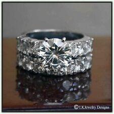 5.25 CT MOISSANITE ROUND FOREVER BRILLIANT SEMI ETERNITY WEDDING SET RING