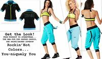 Zumba 3pc.setcargo Capri Pants & Halter Bra Top S Or M & Zip-up Shirt/jacket-s