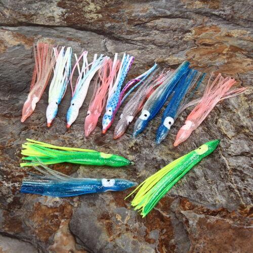 20 Pièces 8cm//11cm Hoochie Calmar Jupe Pieuvre Eau de Mer Flexible Leurre Pêche