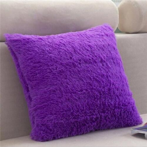 Hot Fluffy Shaggy Plush Pillow Case Sofa Waist Throw Cushion Cover Home Decor DS