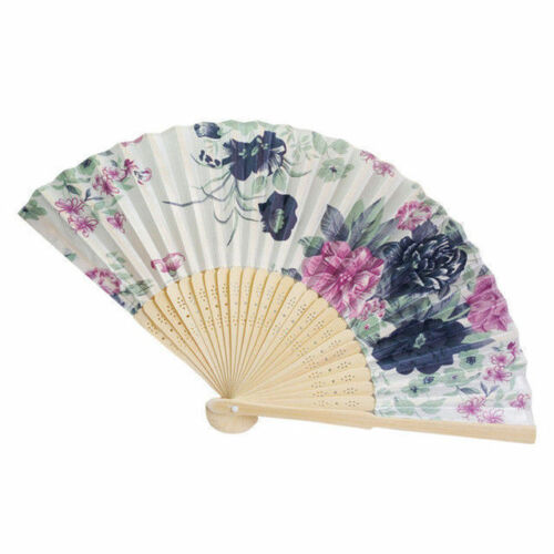 Chinese Butterfly and Flower Hand Held Silk Bamboo Folding Fan Accessory Decor z