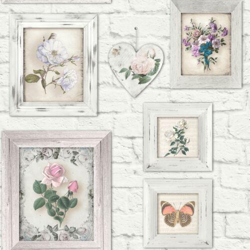 Fresco Brick Print With Floral Frames Wallpaper White Multi 51-073