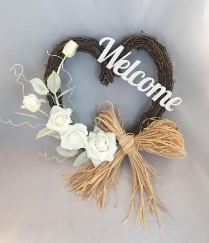 FRONT DOOR TWIG WREATH FLOWERS FOAM ROSE WALL DECOR GLITTER WELCOME SIGN HEART