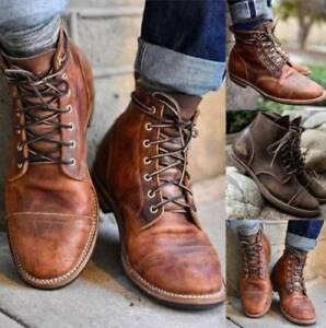 Details about Retro Men\u0027s Leather Martin Boots Combat Lace Up Military Army  Biker Ankle Shoes