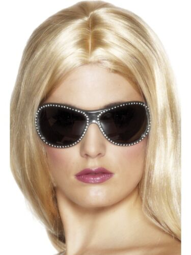 LADIES FANCY DRESS Bling Diamonte Specs 80/'s 90/'s Wag Model Sunglasses