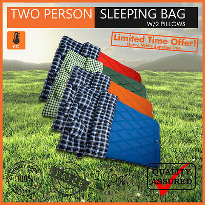 BRAND NEW HUGE DOUBLE SIZE TWO PERSON SLEEPING BAG W/2 PILLOWS