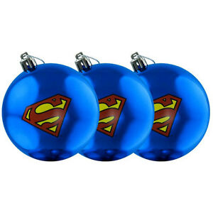 Superman-Logo-Christmas-Bauble-Ornament-3-Pack-NEW-xmas-tree-baubles-decoration