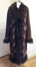 John Lewis Suede Leather Long Brown Coat With Real Fur Size 12