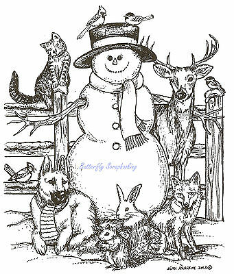 Snowman Fence With Moon Wood Mounted Rubber Stamp Northwoods Rubber Stamp New