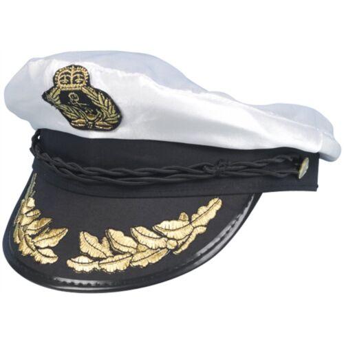 El capitán Hat-Satén Adulto Sofisticado Vestido de Disfraz Deluxe Nueva Mar Marinero Azul Marino