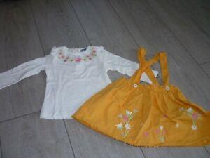 Ensemble Fille : Haut Blanc à Fleurs Avec Robe Jaune Moutarde Creeks 18 Mois éLéGant Dans Le Style