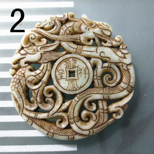 China old white jade Double sided Carving Ancient dragon pattern Amulet Pendant