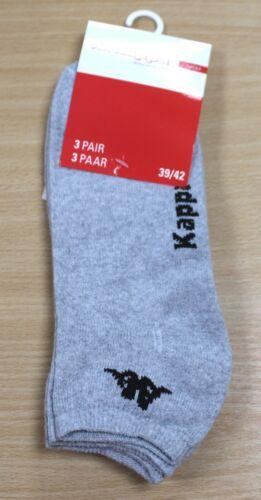 Kappa Men/'s Sports /& Trainer Socks 3 Pack Set Various Colours White Black Grey