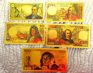 COLLECTION-COMPLETE-5-BILLETS-POLYMER-034-OR-034-COULEURS-ANNEES-1968-REF2a