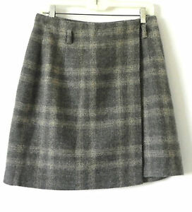 7beef2f51c Image is loading Eddie-Bauer-Wrap-Skirt-Wool-Blend-Plaid-Size-