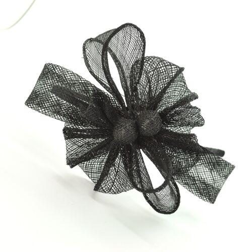 Ladies Black Sinamay Loop Design Headband Fascinator