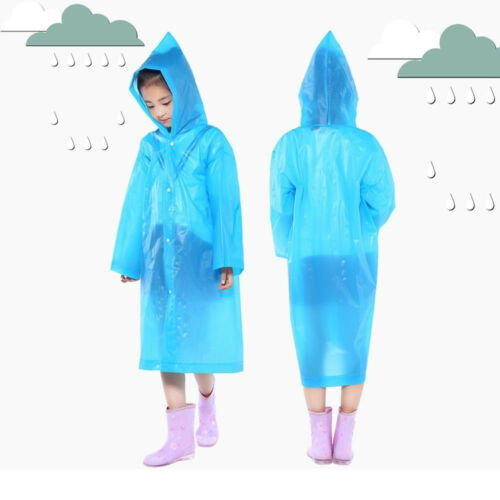 2PCS Children Kids Hooded Jacket Raincoats Reusable Portable Rain Ponchos 6Y-12Y