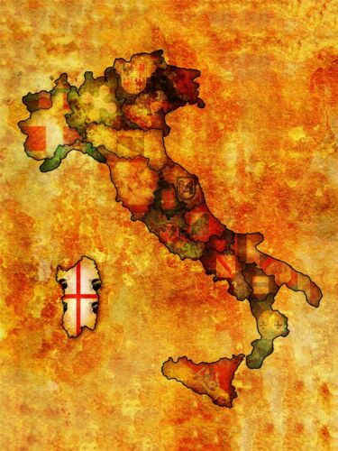 ART PRINT MAP ITALIAN REGIONS ITALY SARDINIA FLAG FADED CREST DESIGN LFMP0868