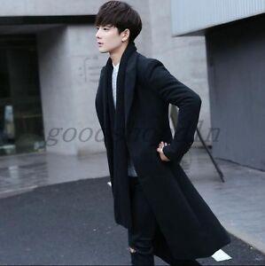 Korean-Fashion-Mens-Black-Wool-Blend-Trench-Coat-Slim-Fit-Long-Outwear-Jacket-SZ