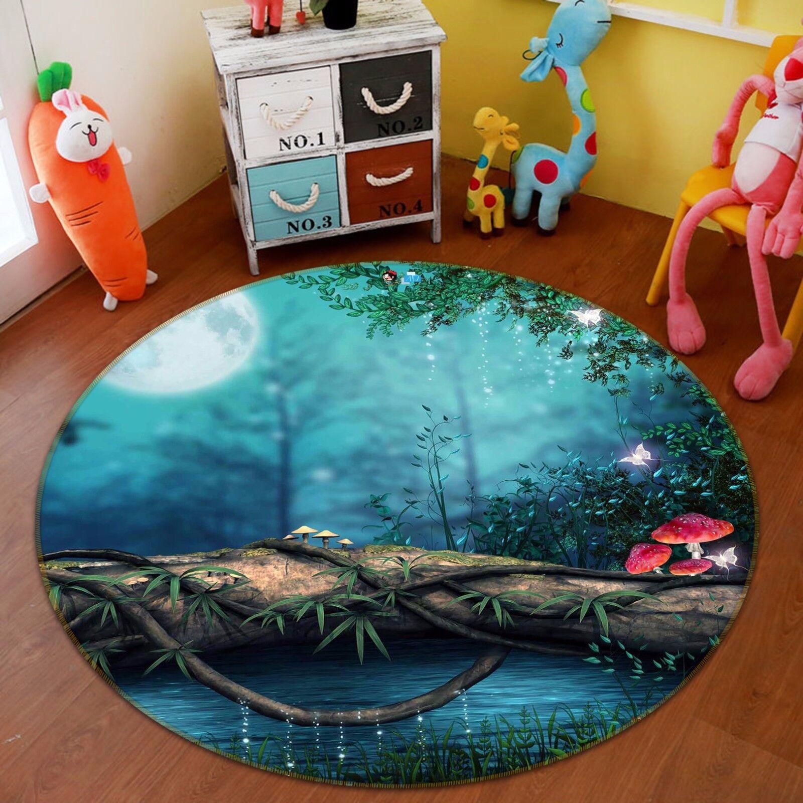 3D Moon Forest 5 Non Slip Rug Mat Room Mat Round Quality Elegant Photo Carpet CA