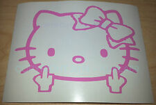 HELLO KITTY Head Face Bow Middle Finger Vinyl decal sticker car-bumper-window3x4
