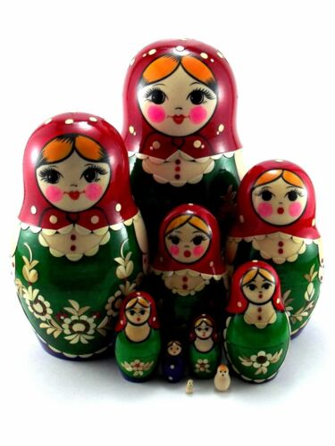 Nesting dolls Russian Matryoshka Babushka Stacking Wooden Toys New set 10 pcs