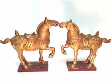 Pair Chinese Tang Dynasty Style Polychrome & Gilded Hand Carved Wood War Horses