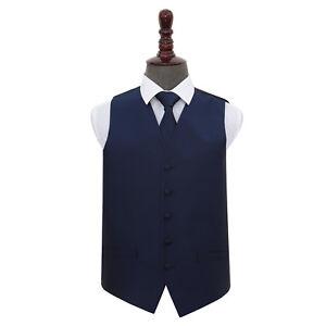 DQT-Woven-Plain-Solid-Check-Navy-Blue-Mens-Wedding-Waistcoat-amp-Tie-Set
