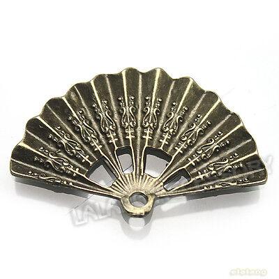50pcs 140214 Wholesale Fan Charms Bronze Dangle Pendants 21mm Jewelry Findings