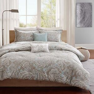 Details About Beautiful Modern Elegant Luxurious Light Blue Grey Taupe Scroll Comforter Set