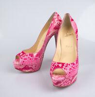 Christian Louboutin Lady Peep Rose Matador Python 6 Heels Shoes 10/40 $1795