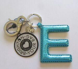 Brighton-Let-039-s-Hang-Out-Initially-Yours-E-Handbag-Fob-turquoise-polka-dots