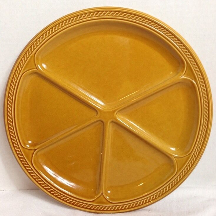 Divided Fondue Sushi Plates Amber 5-Section 9 3 4  Set of 4