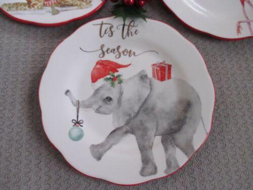 Dessert Plates Elephant Flamingo Giraffe NEW- Christmas Holiday Salad Gold