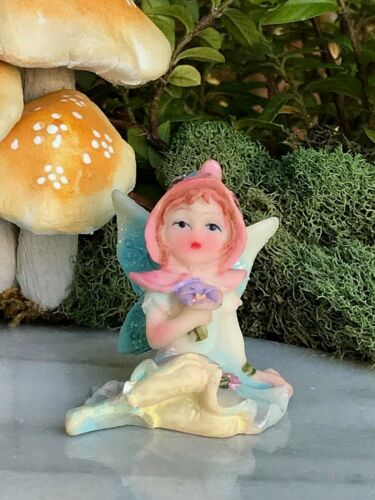 Miniature Dollhouse FAIRY GARDEN Figurine ~ Mini Sweet Blue BECKY Girl w Bonnet