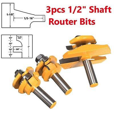 """3 Bit Raised Panel Cabinet Door Router Bit Set- Bevel- 1/2"""" Shank"""