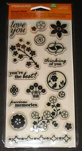 FISKARS SIMPLE STICK REPOSITIONABLE RUBBER STAMPS FLORAL FLAIR