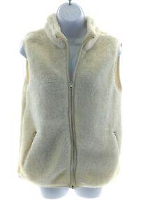 Sabrina-Lauren-Womens-Ivory-Faux-Fur-Sleeveless-Vest-Winter-Size-Small