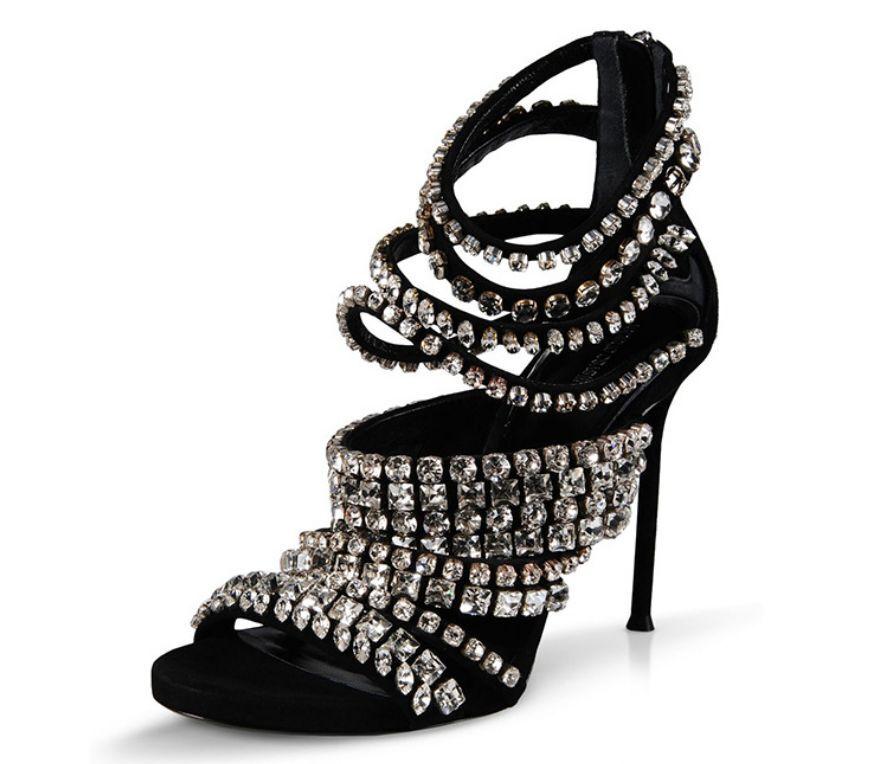 Women's Rhinestone Strappy High Heels Sandals Stilettos Peep Toe Back Zip shoes