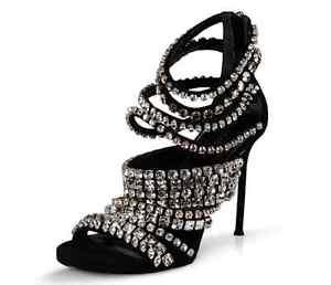 women's rhinestone open toe strappy high heels stilettos
