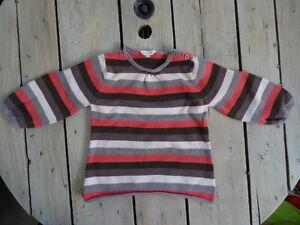 Tres-joli-Pull-raye-ML-marron-violet-blanc-gris-KIDKANAi-Taille-4-ans