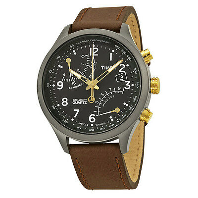 Timex Premium Intelligent Flyback Chronograph Black Dial Brown Leather Mens