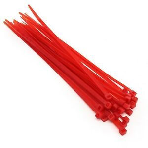 """25 Pack Heavy Duty 8"""" (50lbs) Zip Cable Tie Down Strap Wire Uv Red Nylon Wrap"""