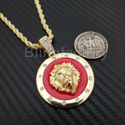 """Hip Hop Iced out Gold Lion Head Medallion Pendant /& 4mm 24/"""" Rope Chain Necklace"""